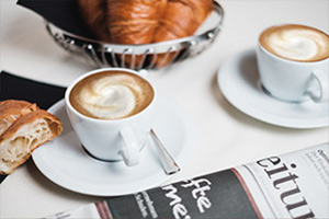 Coffee and Newspaper on a table